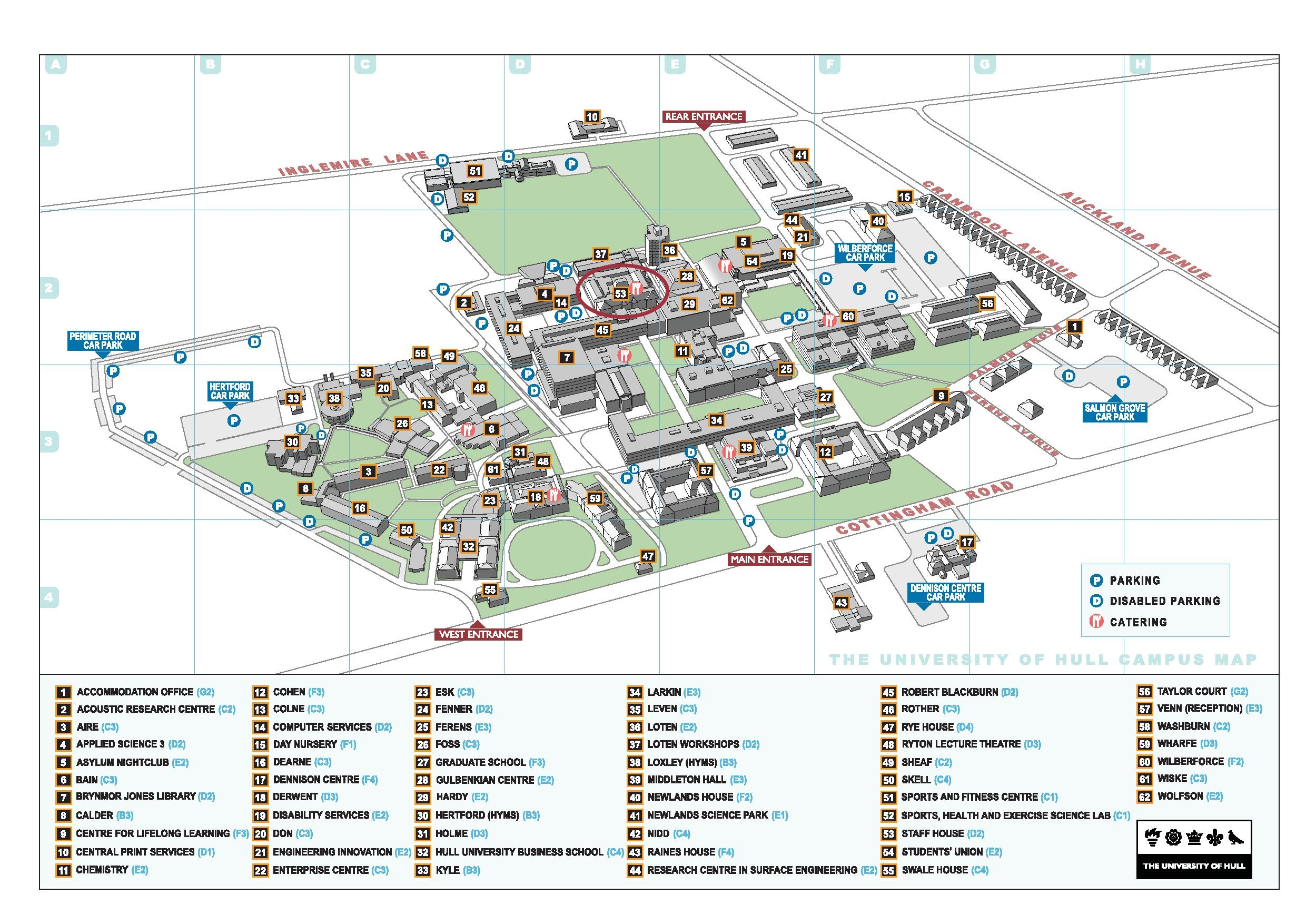Map of Hull Campus